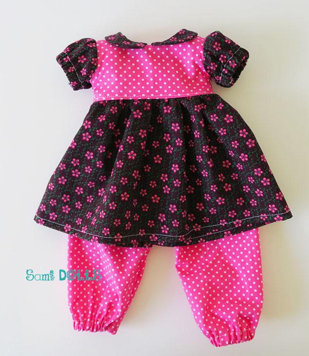 Kleid und Pluderhose für 46 cm Puppen (\'Amelie\', American Girl, Our ...