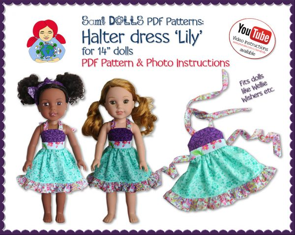 Halter dress Lily for 14 inch dolls