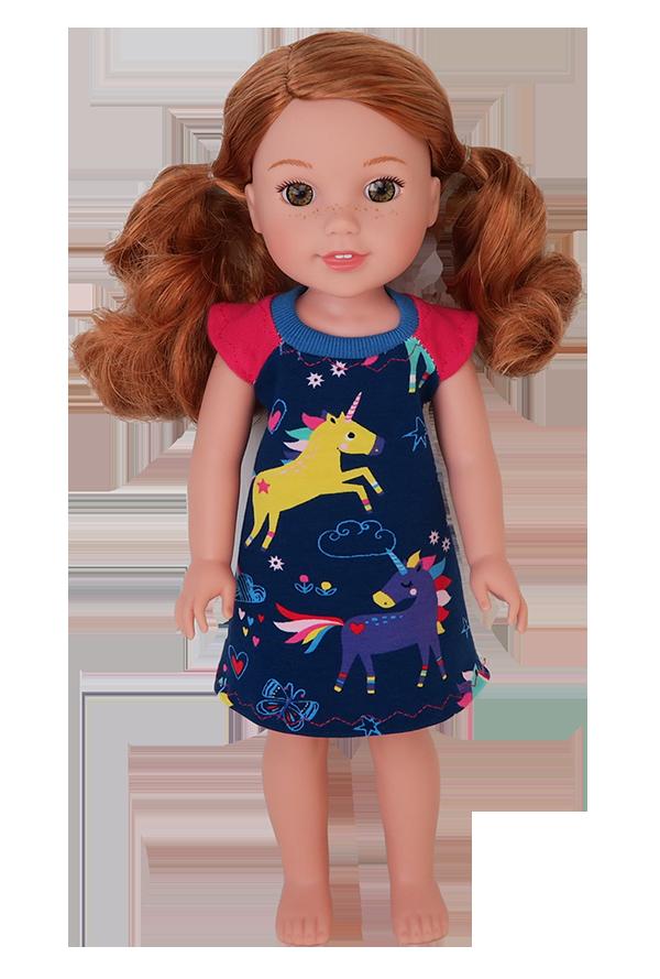 857081ae7564a Raglan Kleid für 34 und 46 cm Puppen wie Wellie Wishers und American Girl