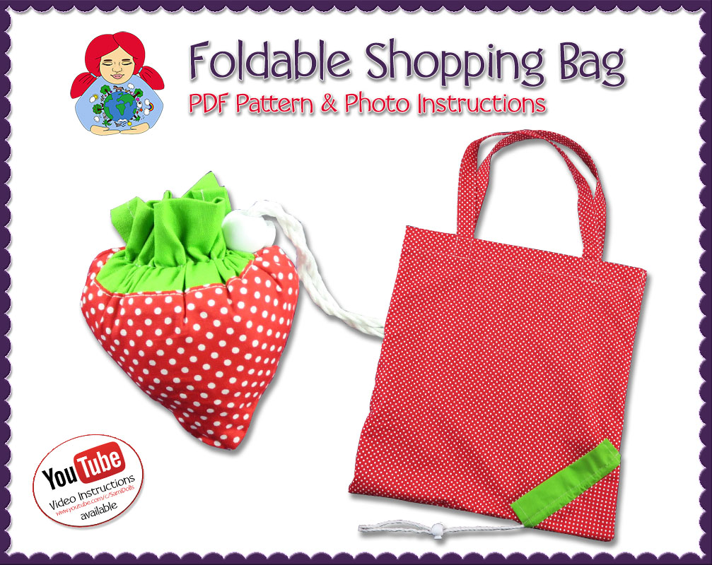 Foldable Ping Bag Strawberry Pdf Pattern Instructions